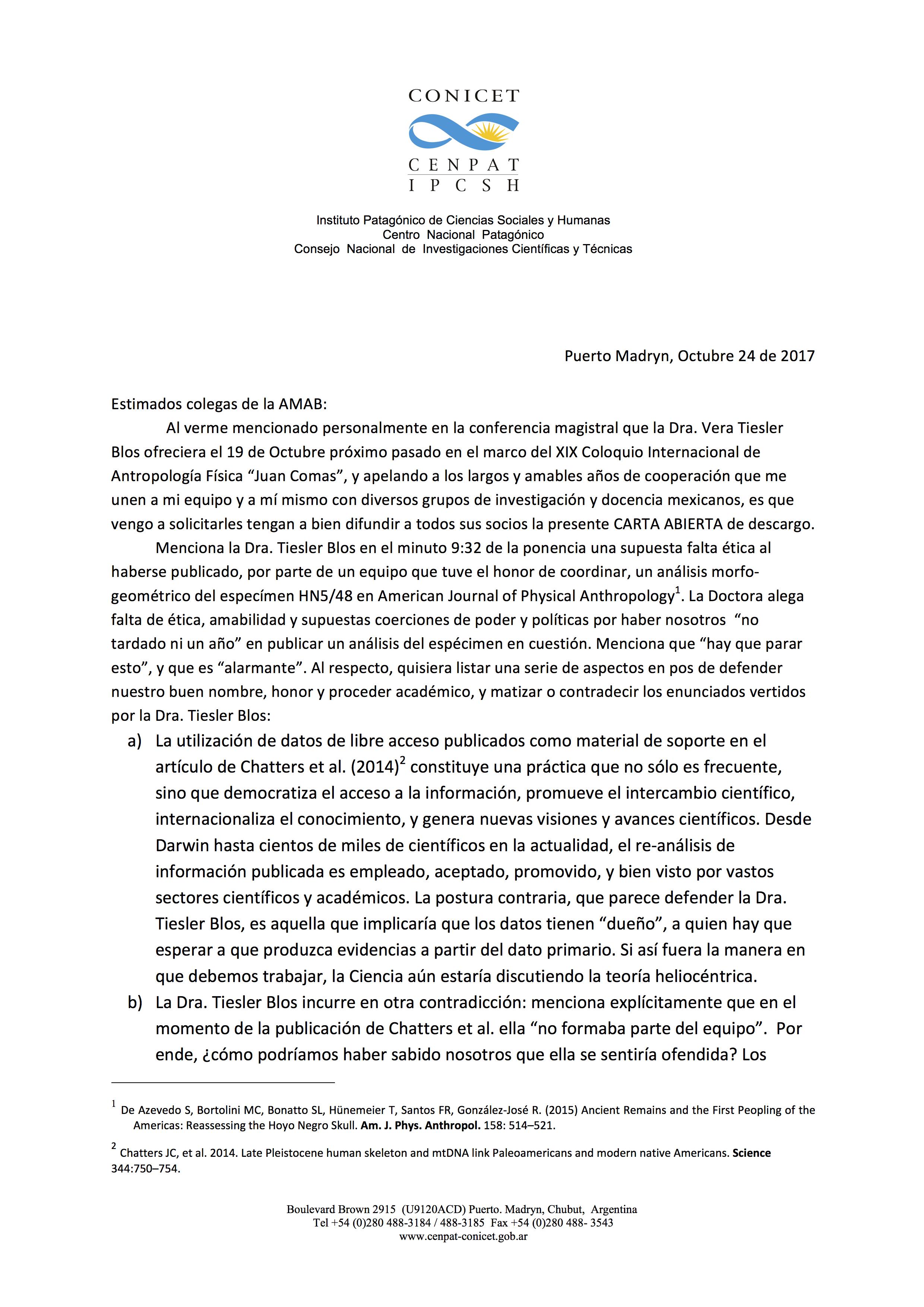Carta Abierta a Socios AMAB